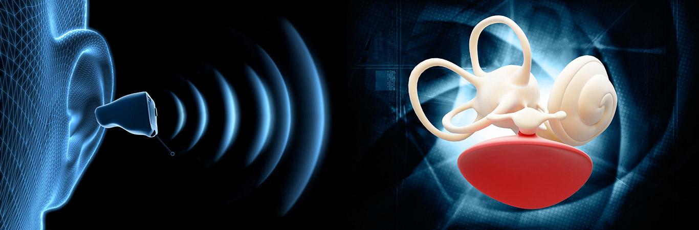 Hörgerät am Ohr mit Schall - Symboldarstellung